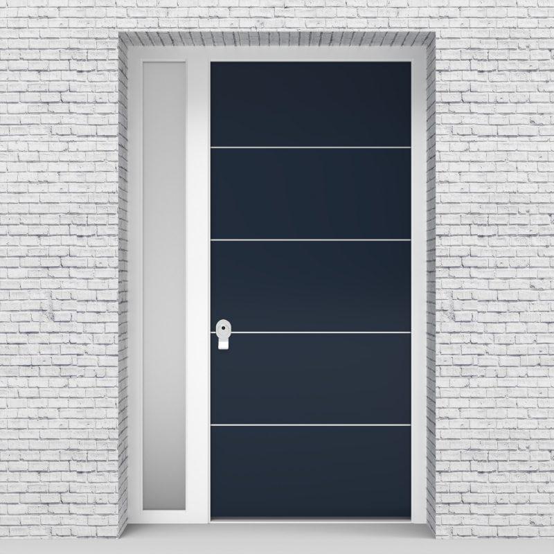 9.single Door With Left Side Panel 4 Aluminium Inlays Sapphire Blue (ral5003)