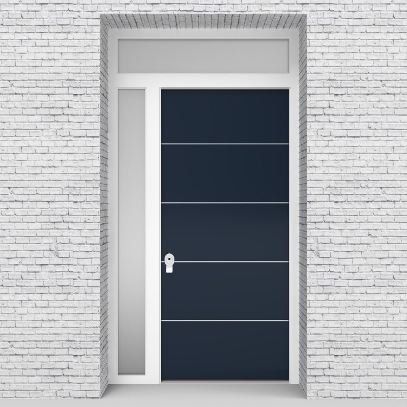 9.single Door With Left Side Panel And Transom 4 Aluminium Inlays Sapphire Blue (ral5003)