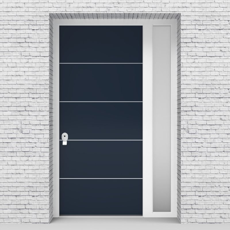 9.single Door With Right Side Panel 4 Aluminium Inlays Sapphire Blue (ral5003)