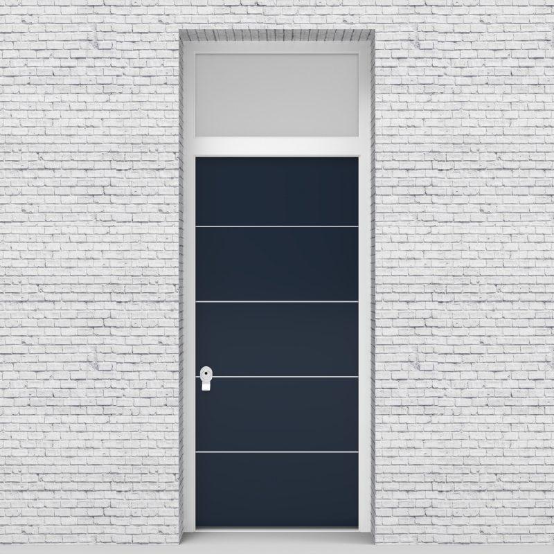 9.single Door With Transom 4 Aluminium Inlays Sapphire Blue (ral5003)