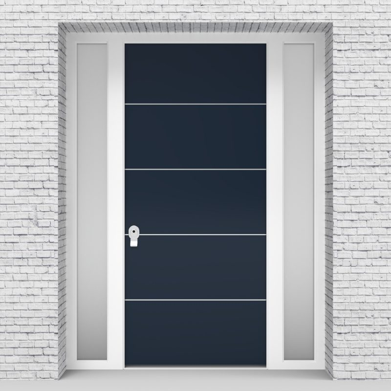 9.single Door With Two Side Panels 4 Aluminium Inlays Sapphire Blue (ral5003)
