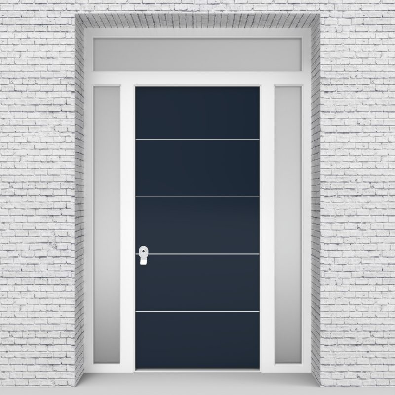 9.single Door With Two Side Panels And Transom 4 Aluminium Inlays Sapphire Blue (ral5003)