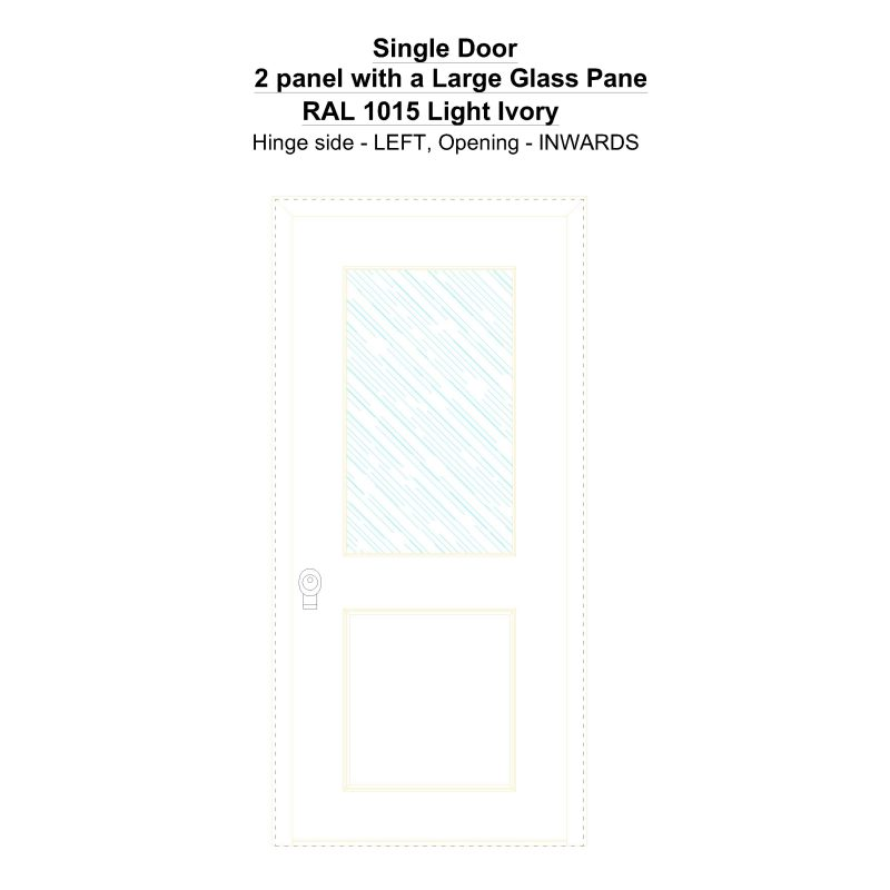 Sd 2 Panel With A Large Glass Pane Ral 1015 Light Ivory Security Door