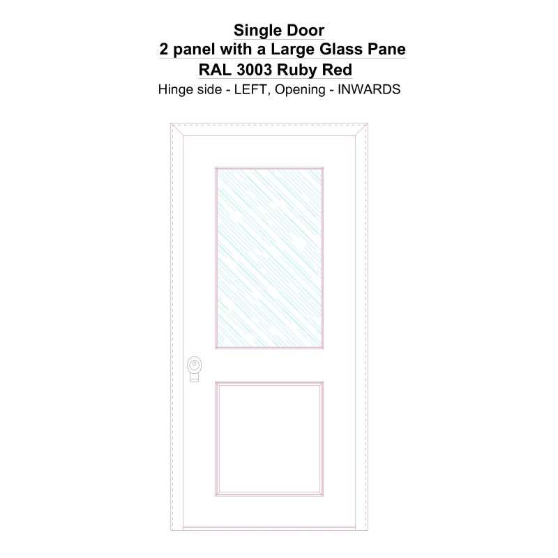 Sd 2 Panel With A Large Glass Pane Ral 3003 Ruby Red Security Door