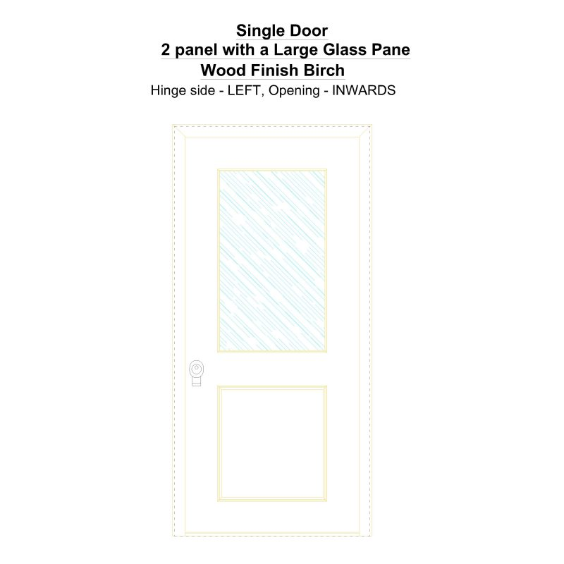 Sd 2 Panel With A Large Glass Pane Wood Finish Birch Security Door