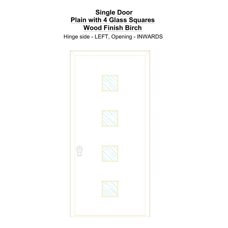 Sd Plain With 4 Glass Squares Wood Finish Birch Security Door