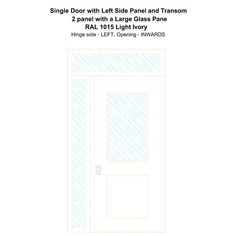 Sd1spt(left) 2 Panel With A Large Glass Pane Ral 1015 Light Ivory Security Door