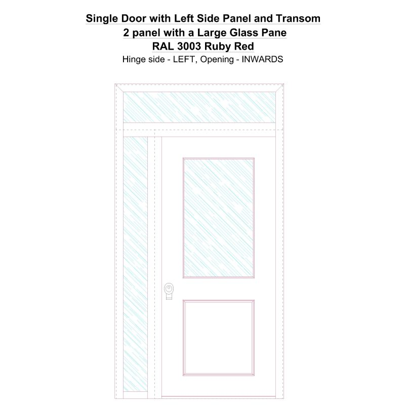 Sd1spt(left) 2 Panel With A Large Glass Pane Ral 3003 Ruby Red Security Door