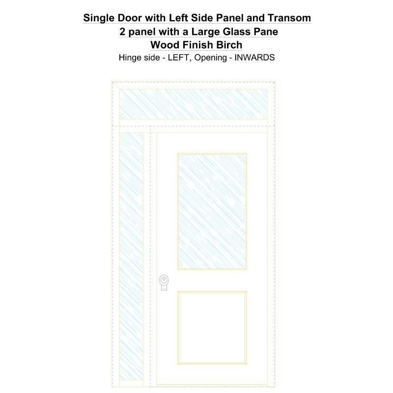 Sd1spt(left) 2 Panel With A Large Glass Pane Wood Finish Birch Security Door