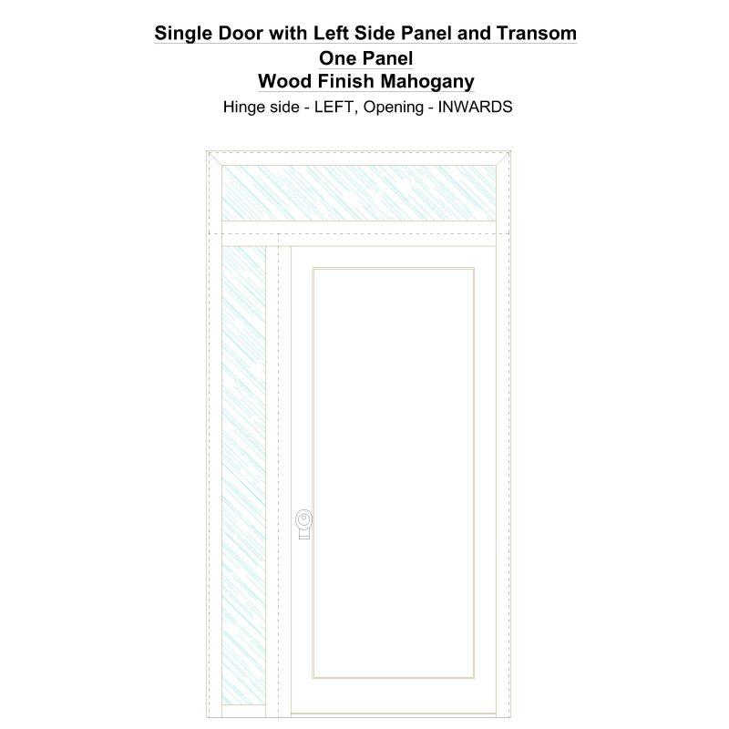 Sd1spt(left) One Panel Wood Finish Mahogany Security Door