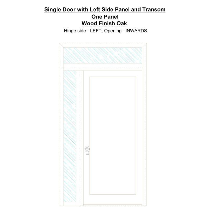Sd1spt(left) One Panel Wood Finish Oak Security Door