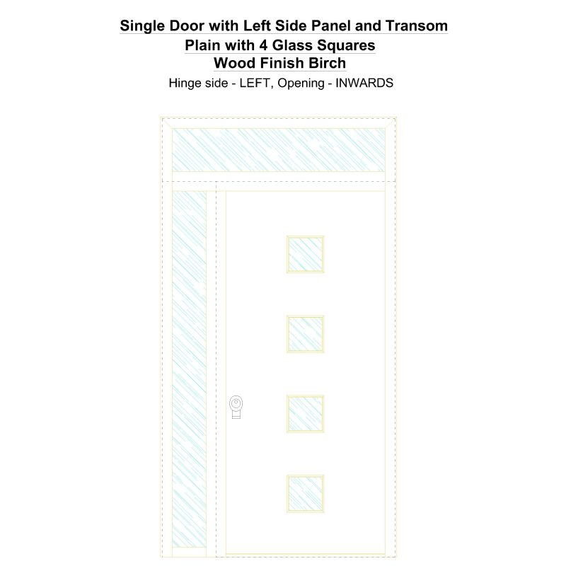 Sd1spt(left) Plain With 4 Glass Squares Wood Finish Birch Security Door