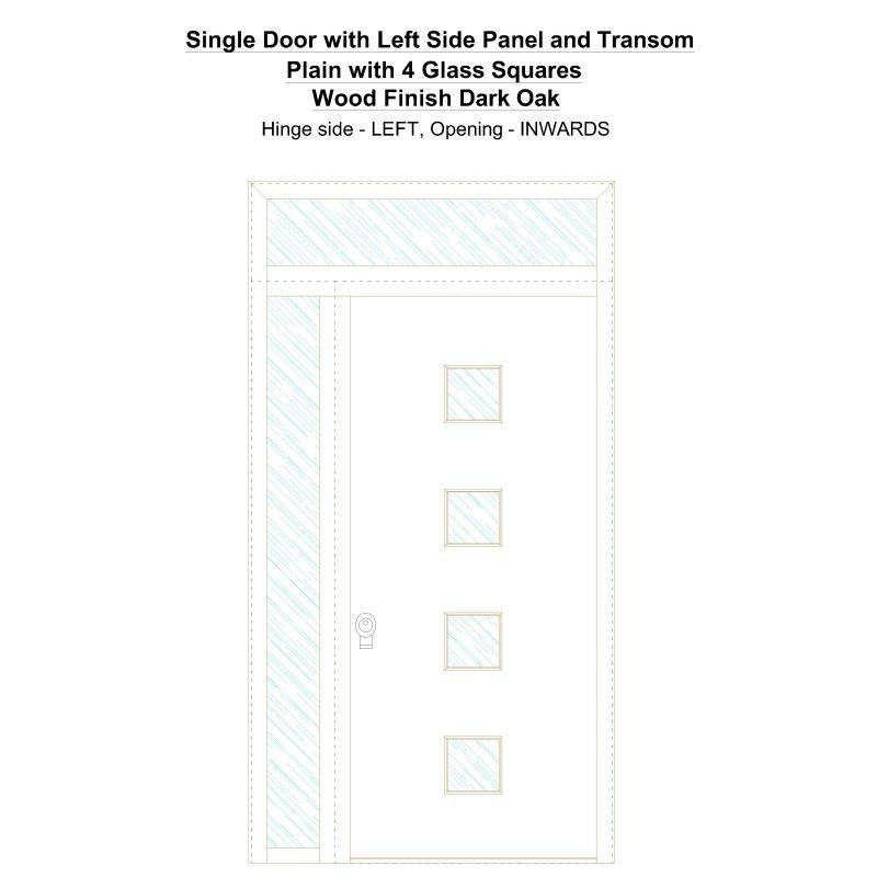 Sd1spt(left) Plain With 4 Glass Squares Wood Finish Dark Oak Security Door