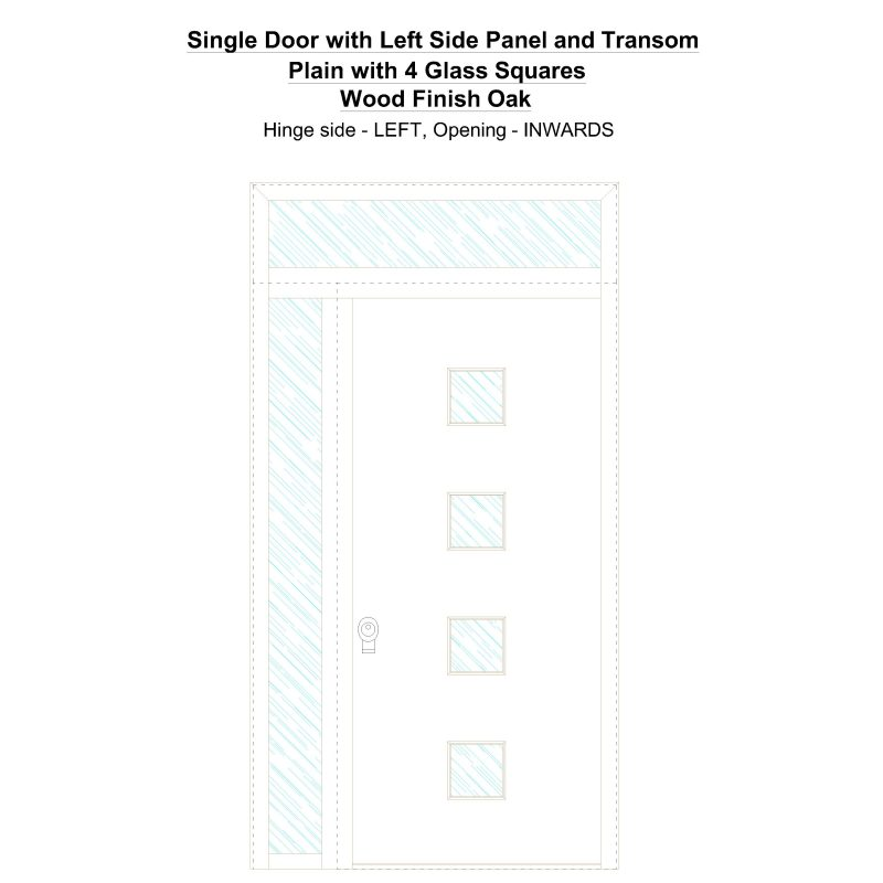 Sd1spt(left) Plain With 4 Glass Squares Wood Finish Oak Security Door