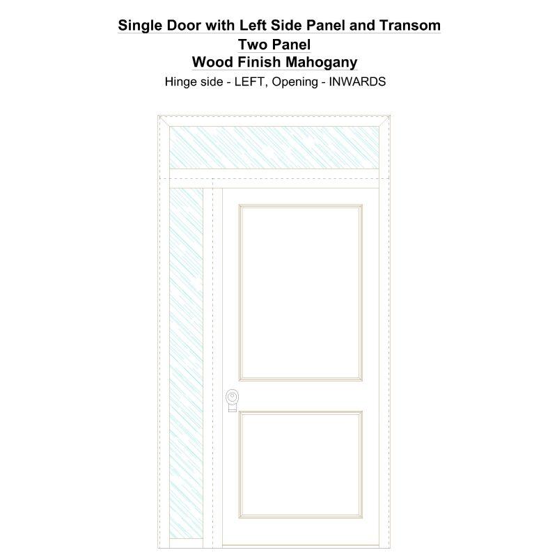Sd1spt(left) Two Panel Wood Finish Mahogany Security Door