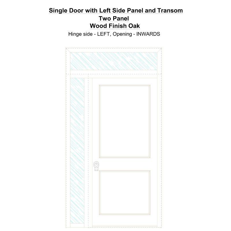 Sd1spt(left) Two Panel Wood Finish Oak Security Door