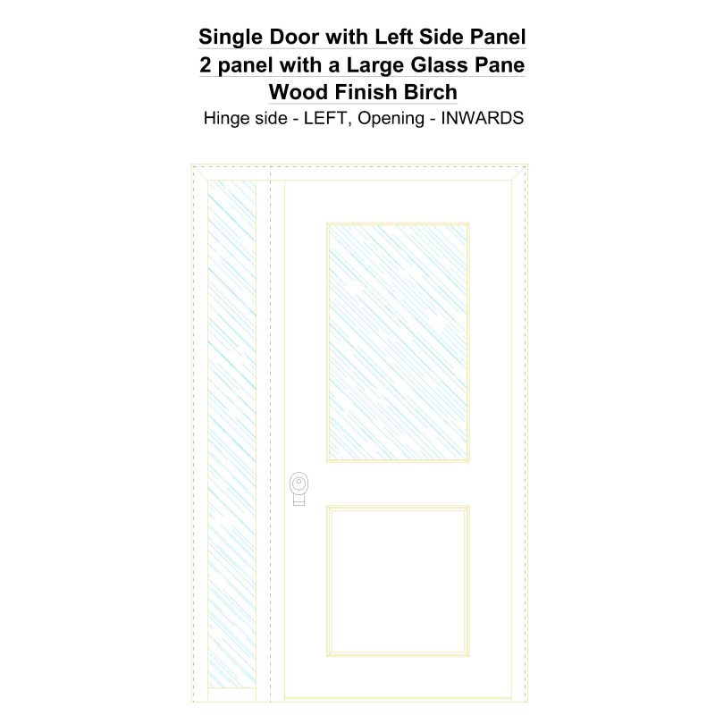 Sd1sp(left) 2 Panel With A Large Glass Pane Wood Finish Birch Security Door