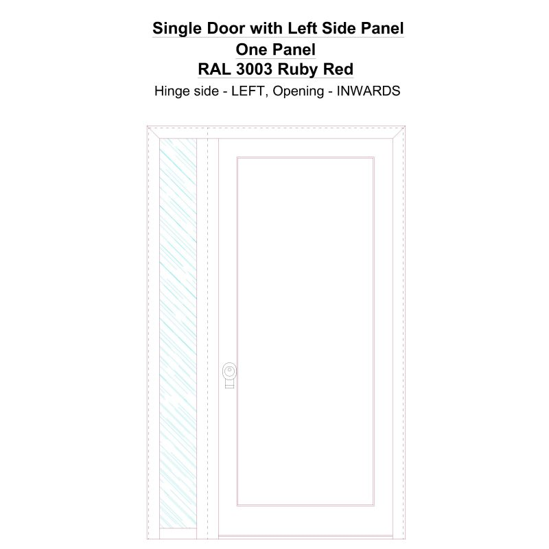 Sd1sp(left) One Panel Ral 3003 Ruby Red Security Door