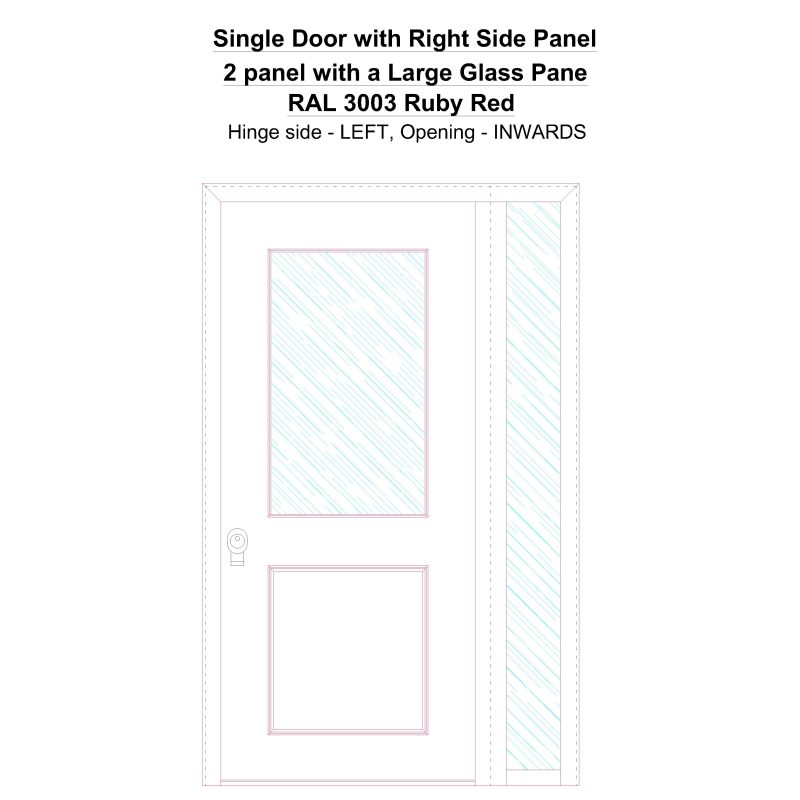 Sd1sp(right) 2 Panel With A Large Glass Pane Ral 3003 Ruby Red Security Door
