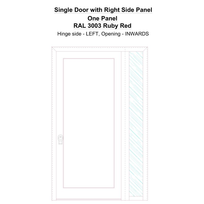 Sd1sp(right) One Panel Ral 3003 Ruby Red Security Door