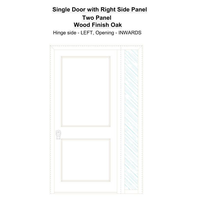 Sd1sp(right) Two Panel Wood Finish Oak Security Door