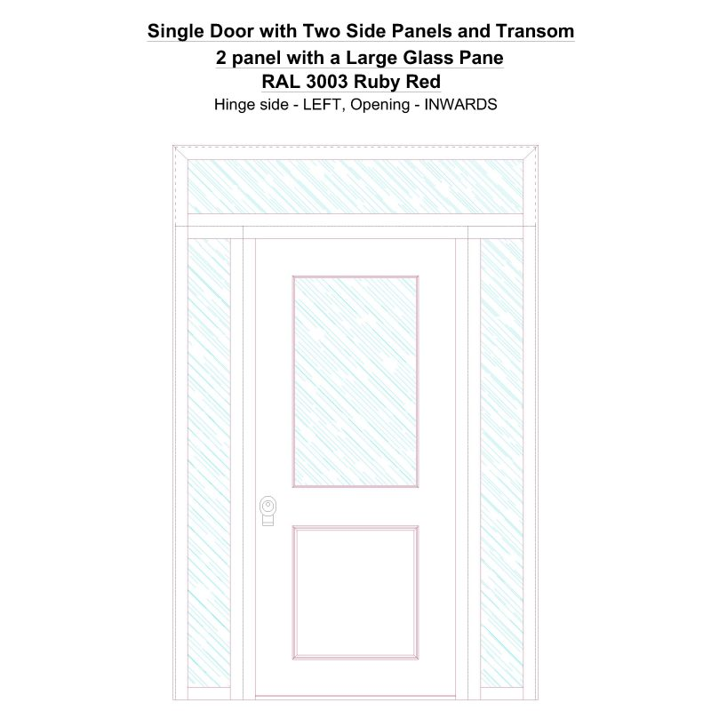 Sd2spt 2 Panel With A Large Glass Pane Ral 3003 Ruby Red Security Door