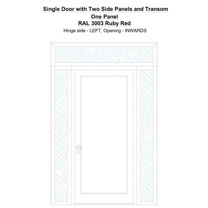 Sd2spt One Panel Ral 3003 Ruby Red Security Door