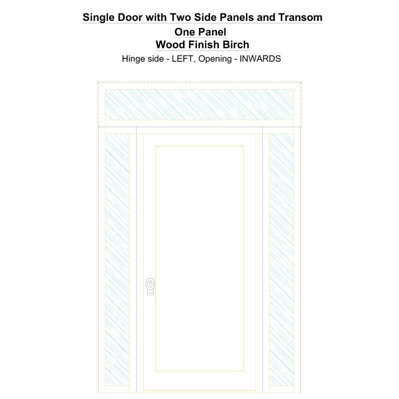 Sd2spt One Panel Wood Finish Birch Security Door