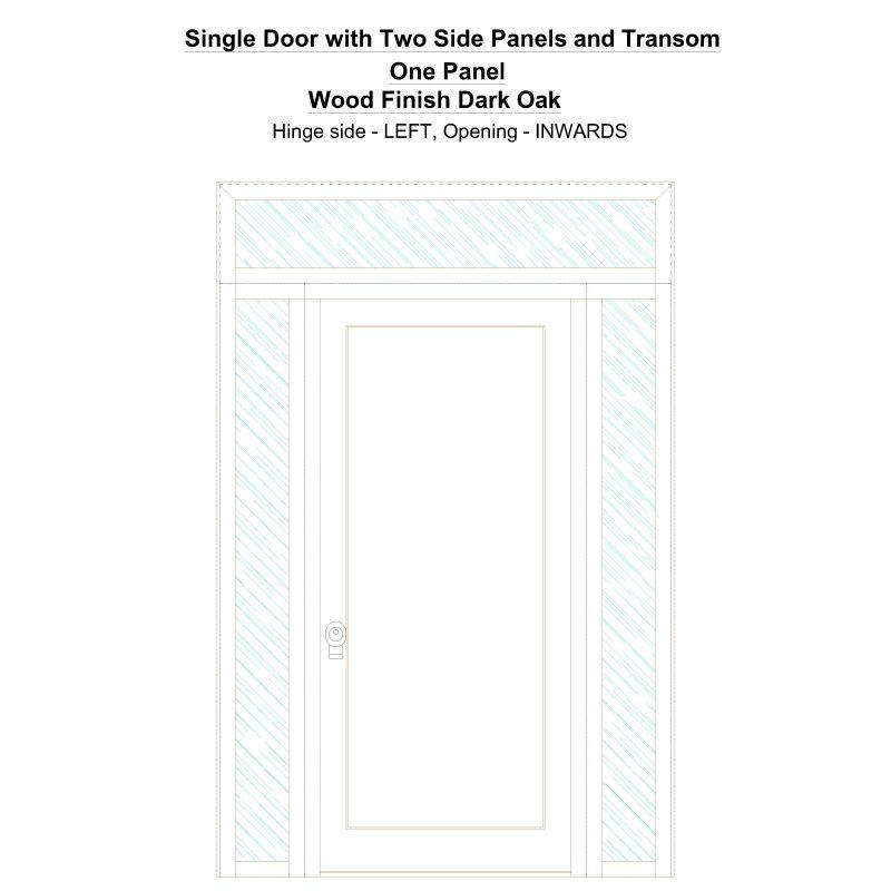 Sd2spt One Panel Wood Finish Dark Oak Security Door