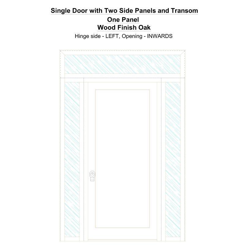 Sd2spt One Panel Wood Finish Oak Security Door