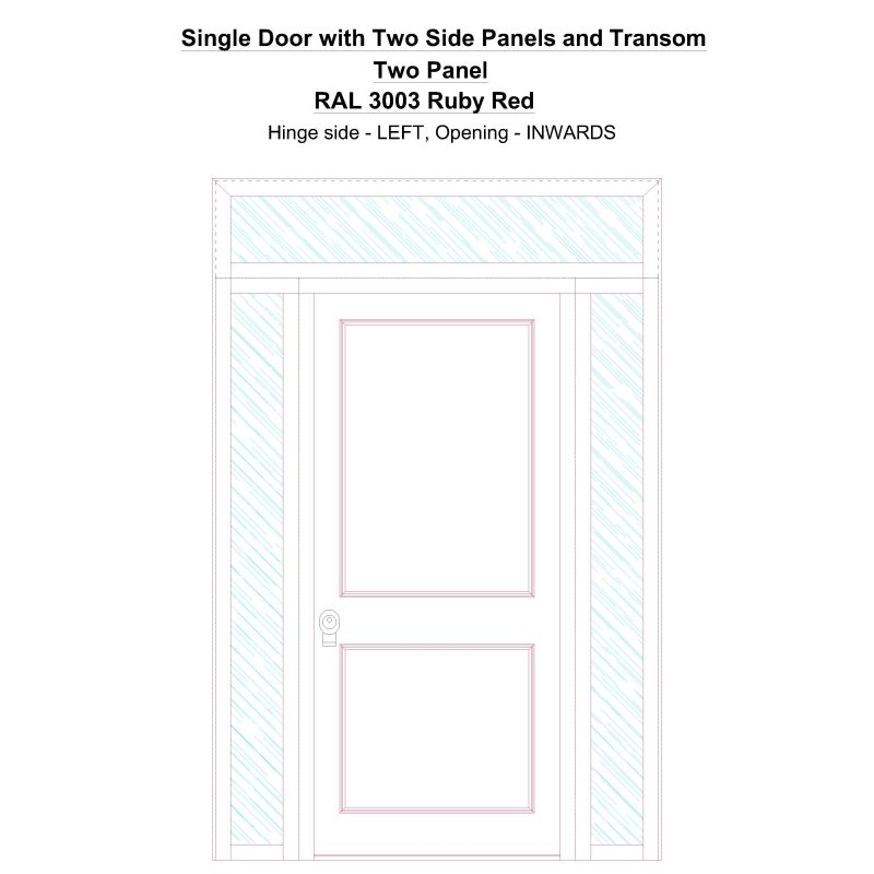 Sd2spt Two Panel Ral 3003 Ruby Red Security Door
