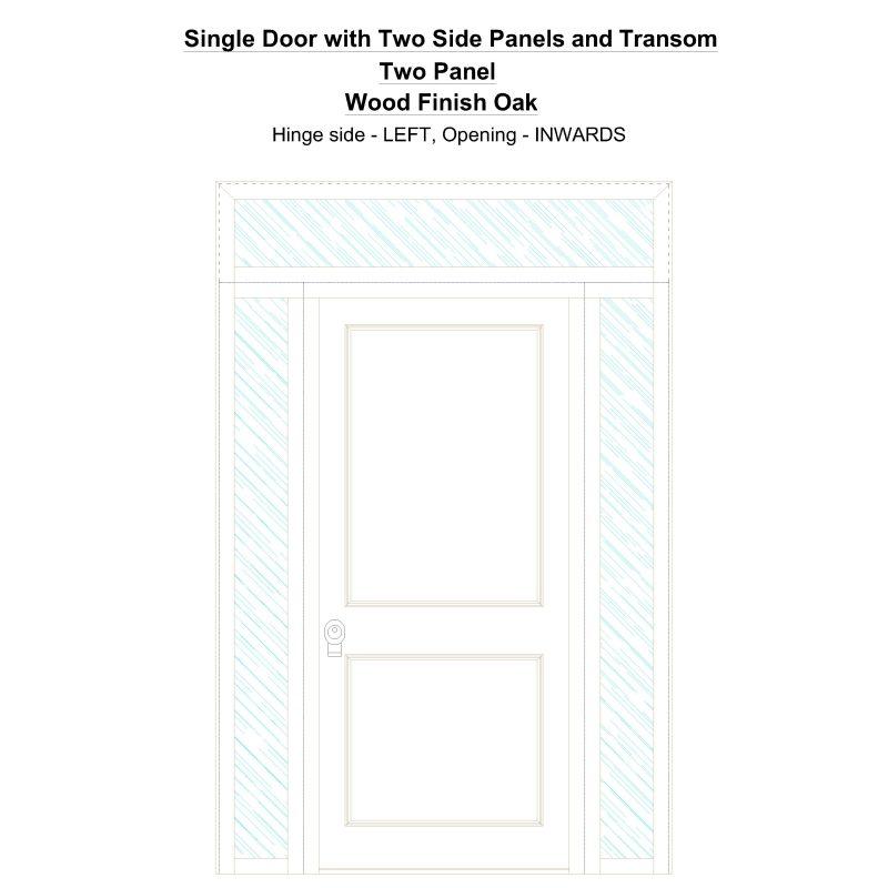 Sd2spt Two Panel Wood Finish Oak Security Door