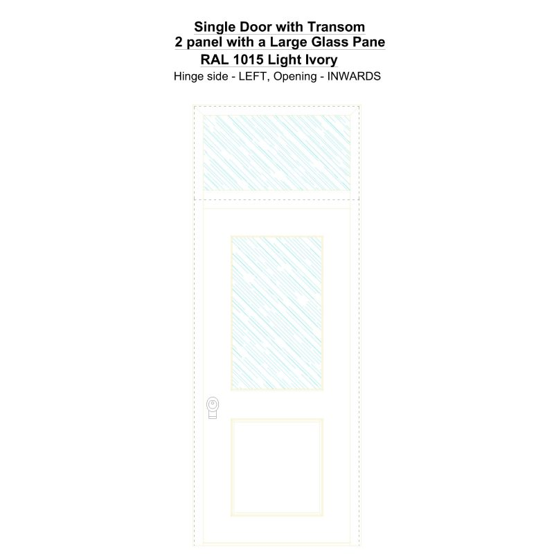 Sdt 2 Panel With A Large Glass Pane Ral 1015 Light Ivory Security Door