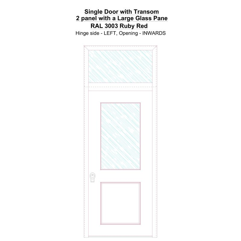 Sdt 2 Panel With A Large Glass Pane Ral 3003 Ruby Red Security Door