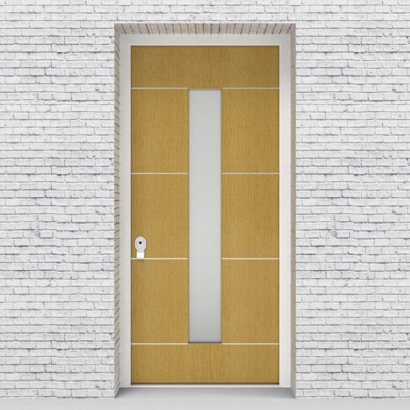1.single Door 4 Aluminium Inlays With Central Glass Birch