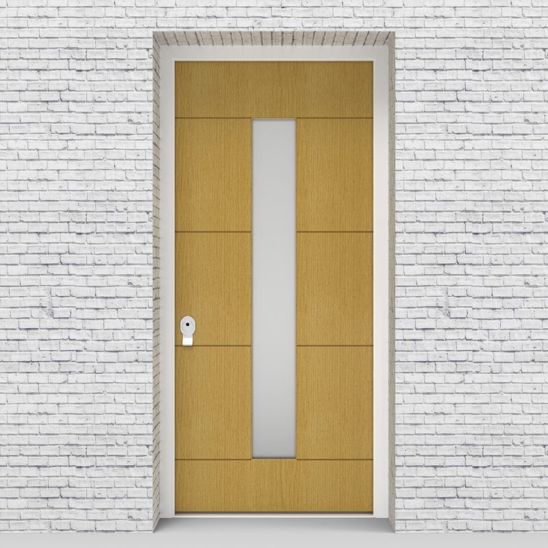 1.single Door 4 Horizontal Lines With Central Glass Birch