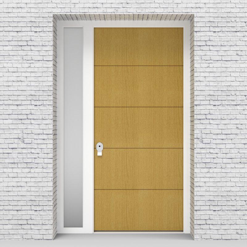1.single Door With Left Side Panel 4 Horizontal Lines Birch