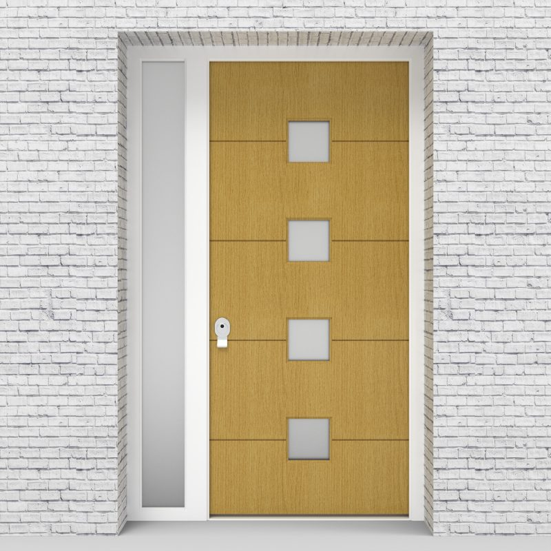 1.single Door With Left Side Panel 4 Horizontal Lines With 4 Glass Birch