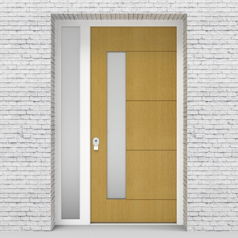 1.single Door With Left Side Panel 4 Horizontal Lines With Lock Side Glass Birch