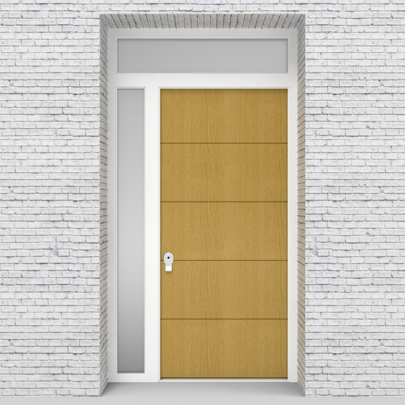 1.single Door With Left Side Panel And Transom 4 Horizontal Lines Birch