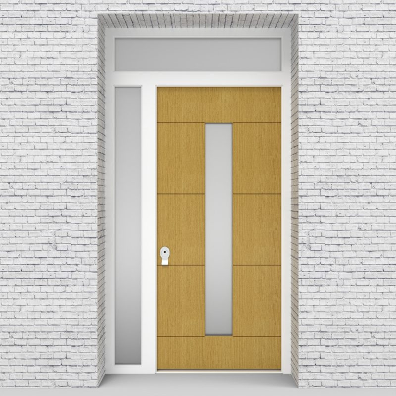 1.single Door With Left Side Panel And Transom 4 Horizontal Lines With Central Glass Birch