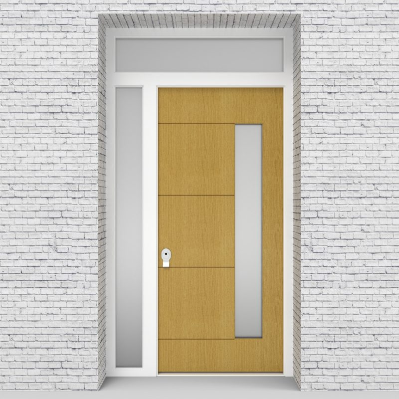 1.single Door With Left Side Panel And Transom 4 Horizontal Lines With Hinge Side Glass Birch