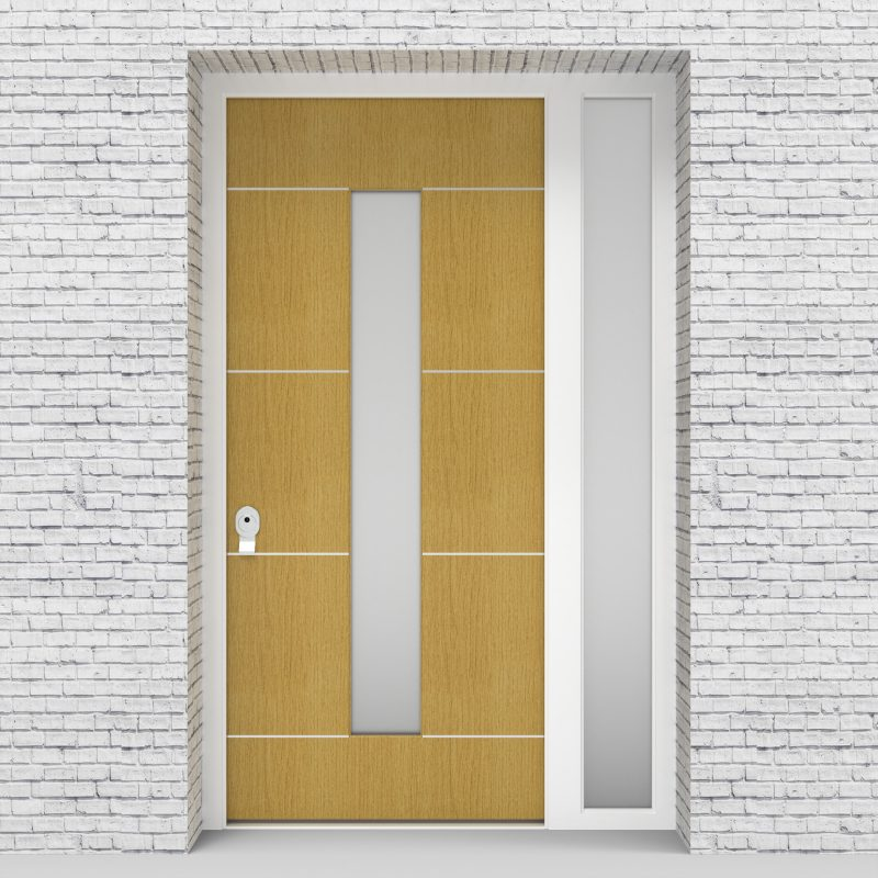 1.single Door With Right Side Panel 4 Aluminium Inlays With Central Glass Birch
