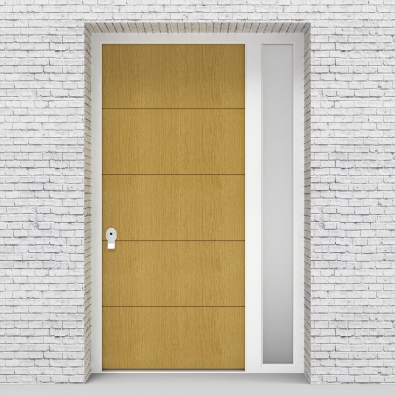 1.single Door With Right Side Panel 4 Horizontal Lines Birch