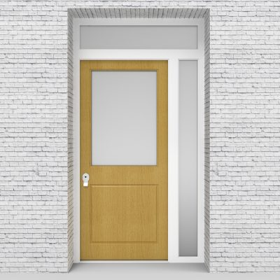 1.single Door With Right Side Panel And Transom 2 Panel With A Large Birch