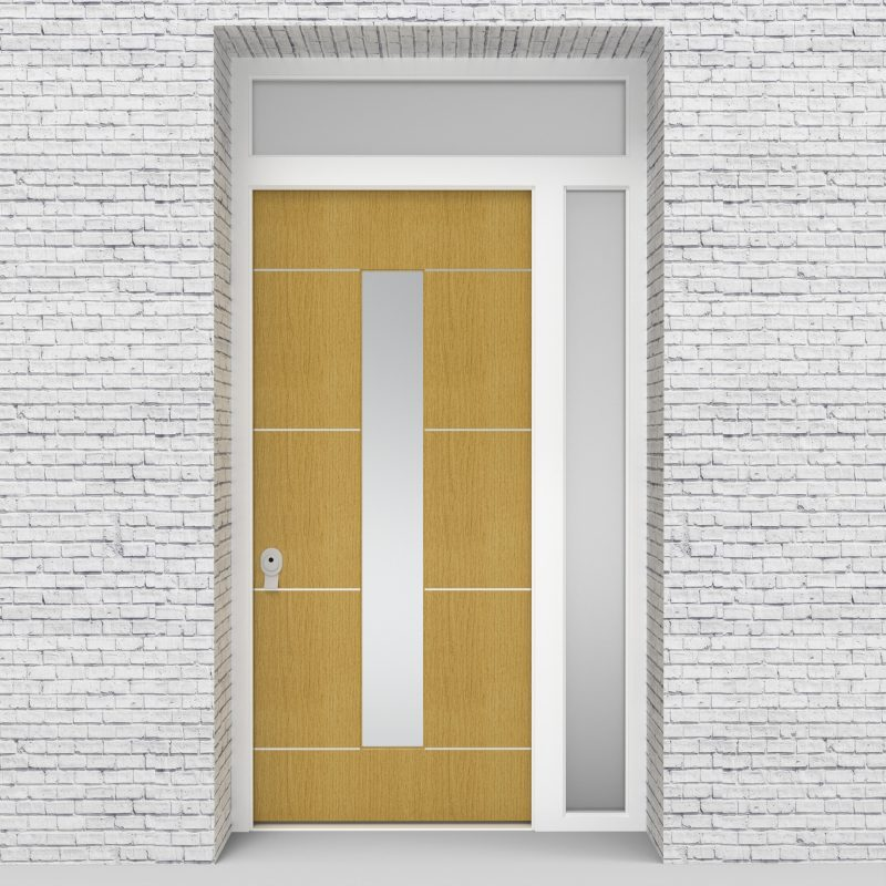 1.single Door With Right Side Panel And Transom 4 Aluminium Inlays With Central Glass Birch