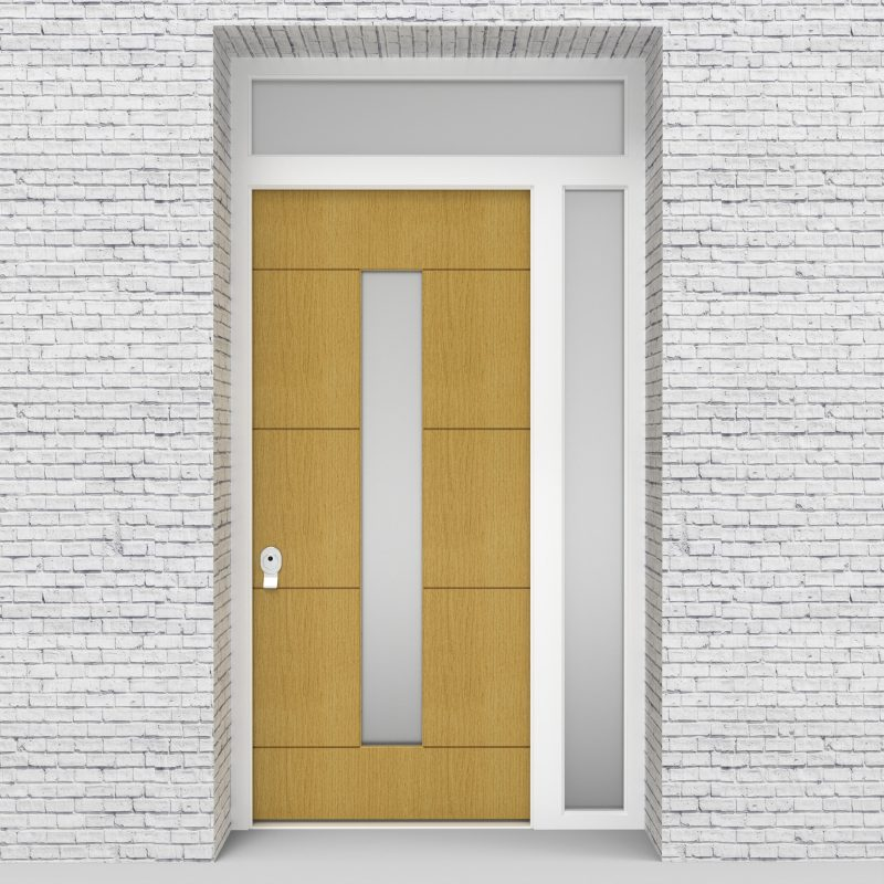1.single Door With Right Side Panel And Transom 4 Horizontal Lines With Central Glass Birch