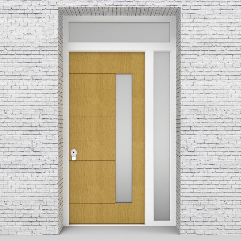 1.single Door With Right Side Panel And Transom 4 Horizontal Lines With Hinge Side Glass Birch