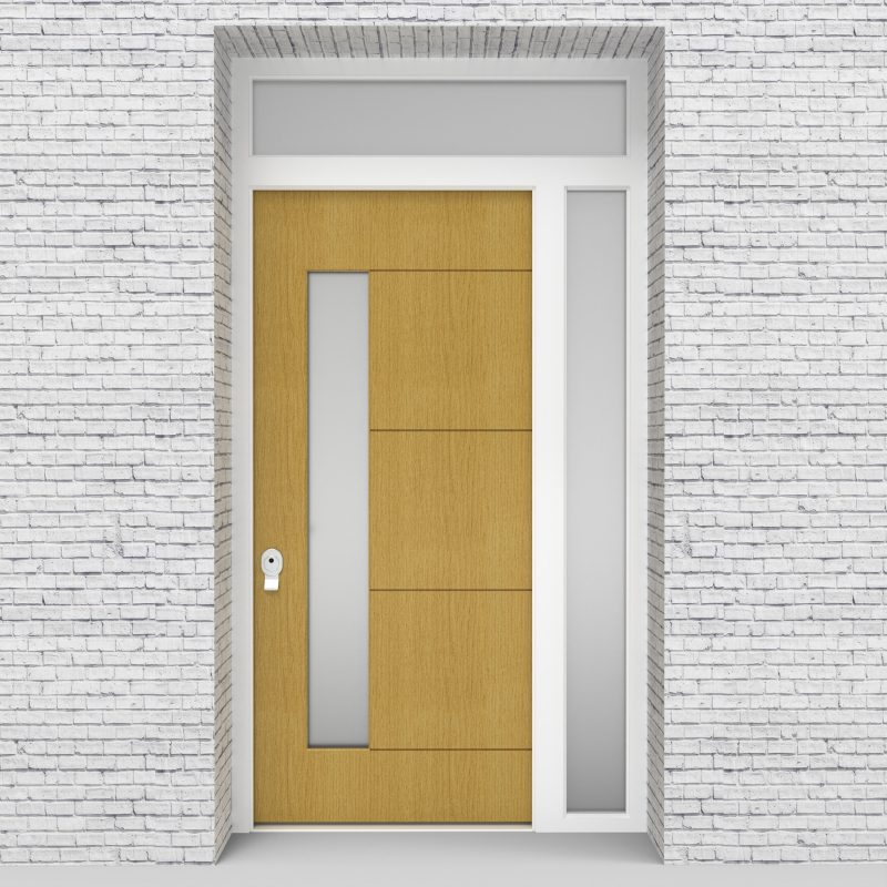 1.single Door With Right Side Panel And Transom 4 Horizontal Lines With Lock Side Glass Birch