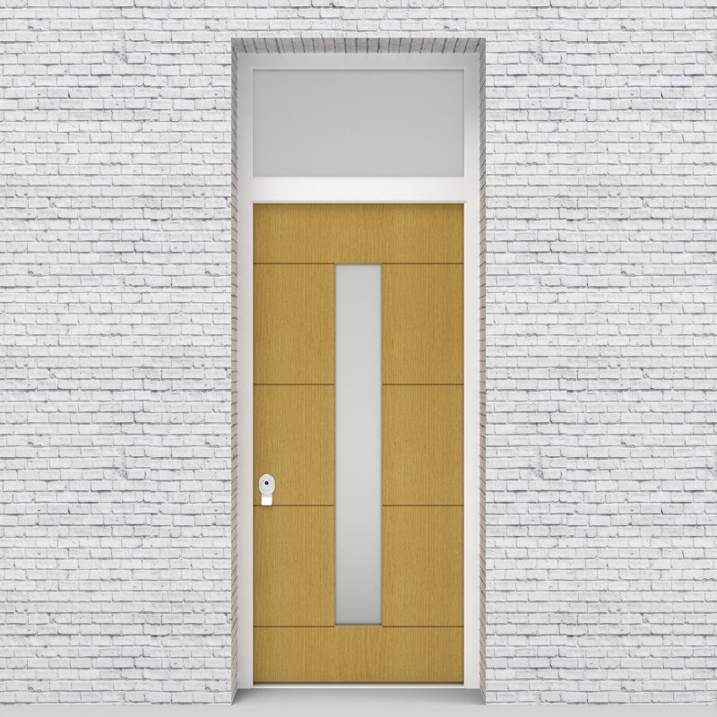 1.single Door With Transom 4 Horizontal Lines With Central Glass Birch